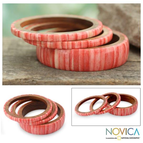 Handcrafted Bone and Wood 'Rose Harmony' Bracelets (set of 3) (India)