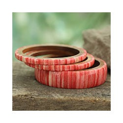 Handcrafted Bone and Wood 'Rose Harmony' Bracelets (set of 3) (India)