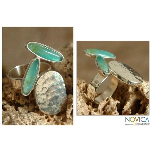 Silver 'Shining River' Opal Ring (Peru)