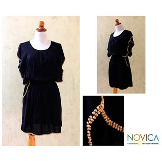 Women's Rayon 'Butterfly Black' Dress (Indonesia)