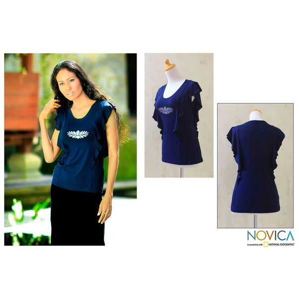 Women's Rayon 'Navy Lotus Butterfly' Top (Indonesia)