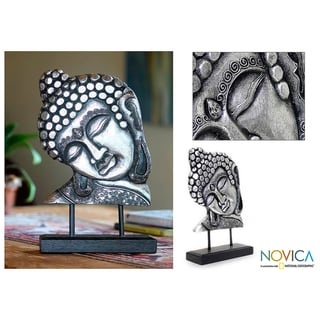 Albesia Wood 'Silver Buddha' Sculpture (Indonesia)