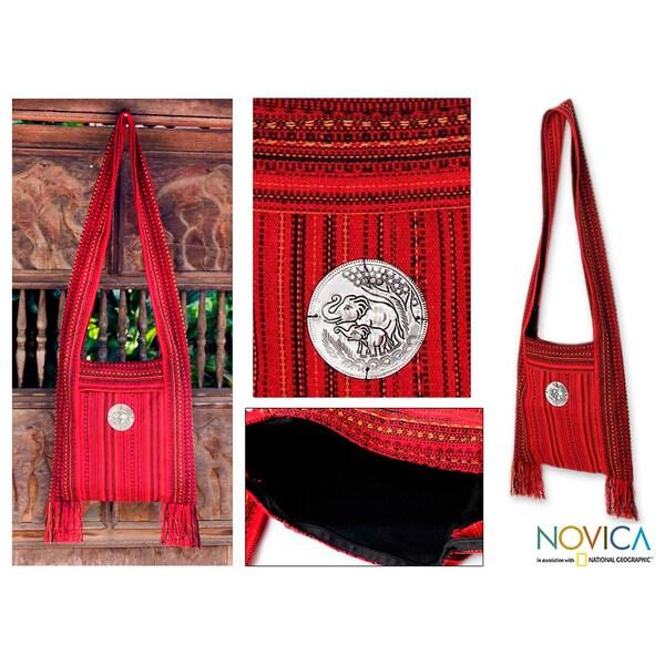 Cotton 'Crimson Lands' Medium Shoulder Bag (Thailand)
