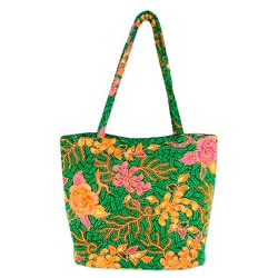 Medium Cotton 'Princess Art' Beaded Batik Tote Bag (Indonesia)