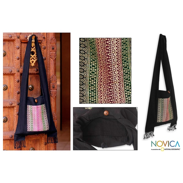 Handmade Cotton 'Exotic Lanna' Medium Sling Bag (Thailand) 9853892