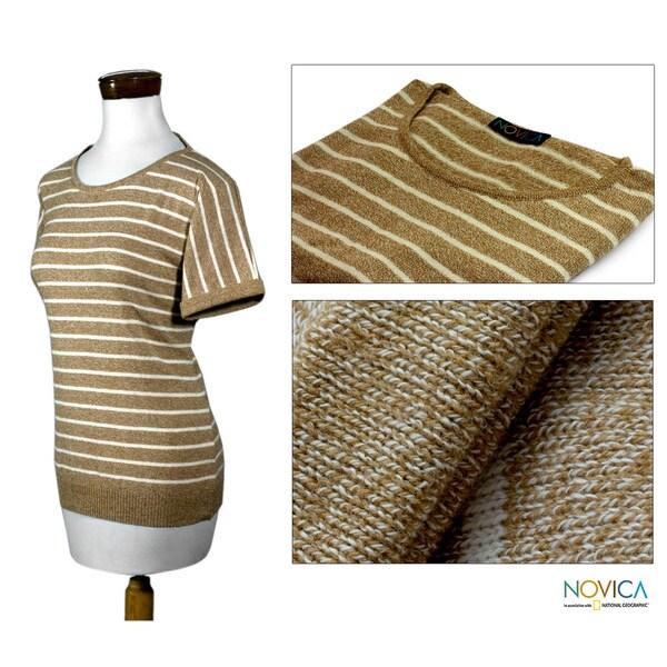 Women's Cotton 'Cool Cocoa' Sweater (Guatemala)