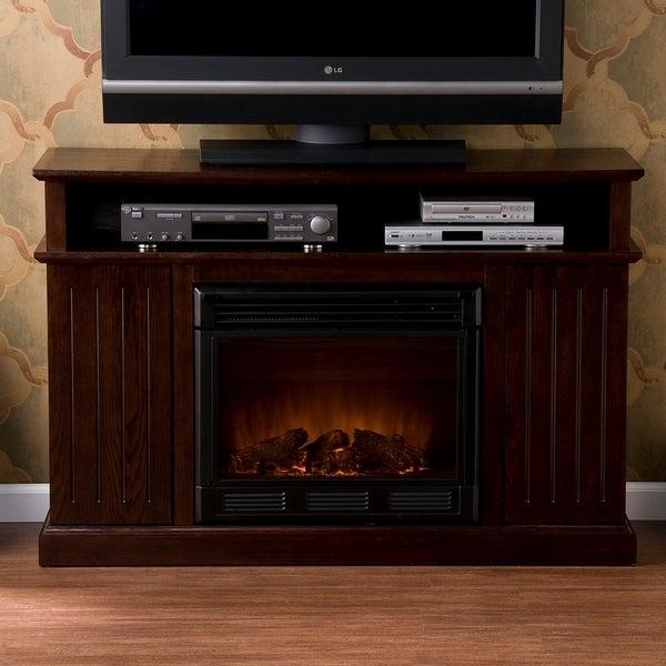 Sanborn Espresso Media Console Electric Fireplace