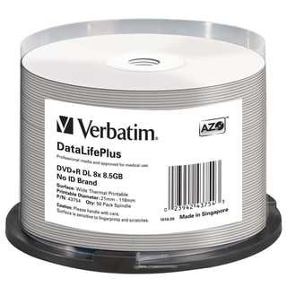 Verbatim DVD+R DL 8.5GB 8X DataLifePlus White Thermal Printable, Hub