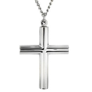 West Coast Jewelry Titanium Cylindrical Cross Necklace
