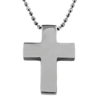 West Coast Jewelry Stainless Steel Polished Cross Necklace