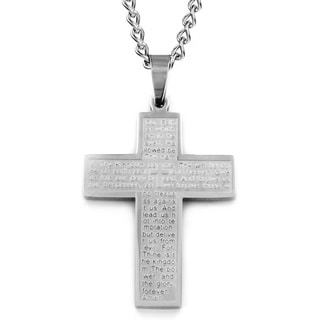 West Coast Jewelry Stainless Steel Lord's Prayer Cross Necklace