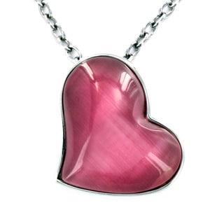Stainless Steel Pink Cat's Eye Heart Pendant Necklace