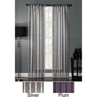 Polyester Glitter Embellished Stripe Rod Pocket Window Panel