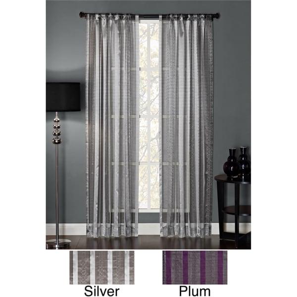 Polyester Glitter Embellished Stripe Rod Pocket Window Panel