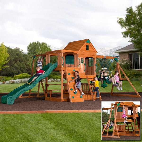 backyard discovery patriot iii all cedar swingset with bonus monkey