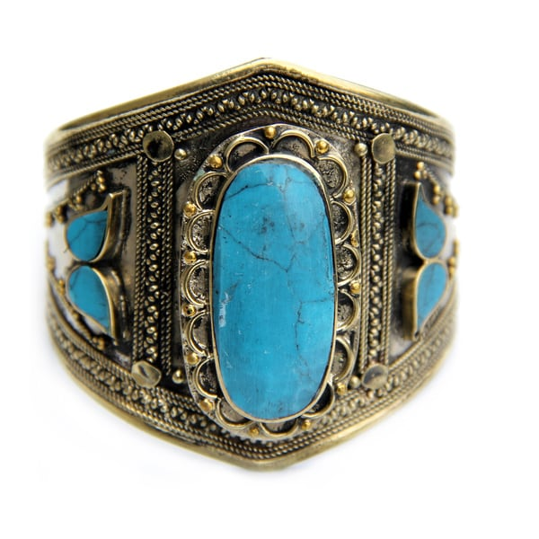 Handcrafted Tribal Large Oval Lapis Lazuli Cuff Bracelet (Afghanistan)