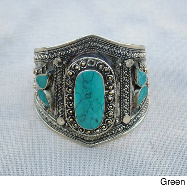 Handcrafted Tribal Small Oval Lapis Lazuli Cuff Bracelet (Afghanistan)