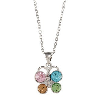 City Style Silvertone Multi-colored Glass Butterfly Necklace