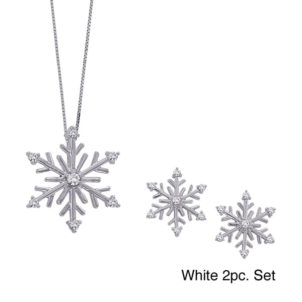 Sterling Silver Diamond Snowflake Earring or Pendant Collection