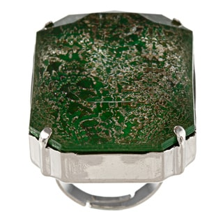 City Style Silvertone Green Marbled Glass Ring