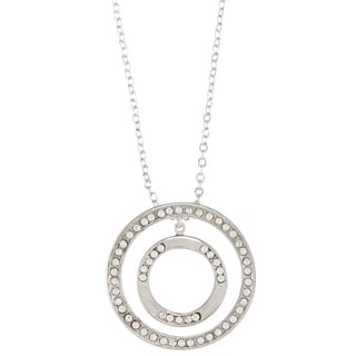 City by City City Style Silvertone Clear Cubic Zirconia Double Circle Necklace
