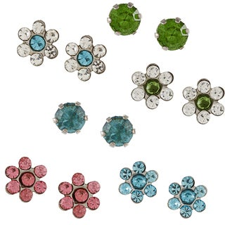City by City City Style Silvertone Multi-colored Cubic Zirconia Flower 6-pair Earring Set