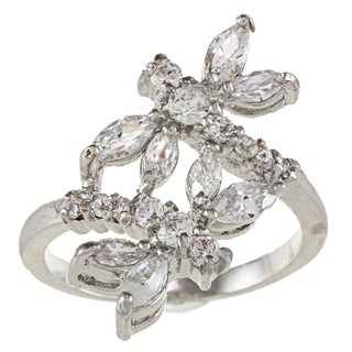 City Style Silvertone Clear Cubic Zirconia Dragonfly Bypass Ring