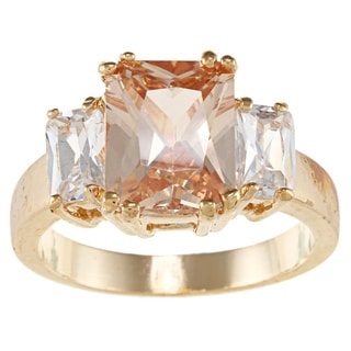 City Style Goldtone Champagne Cubic Zirconia Ring