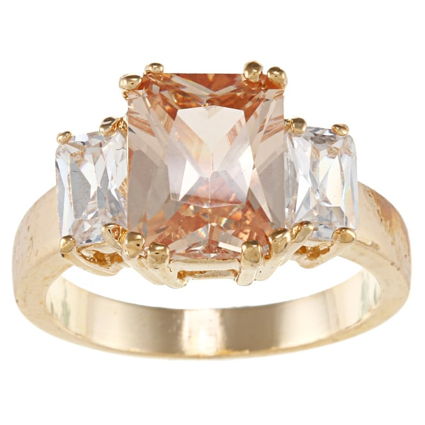 City by City City Style Goldtone Champagne Cubic Zirconia Ring