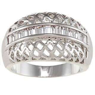 City Style Silvertone Clear Cubic Zirconia Woven Design Ring
