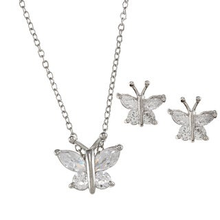 City by City City Style Silvertone Clear Cubic Zirconia Butterfly Jewelry Set