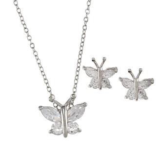 City Style Silvertone Clear Cubic Zirconia Butterfly Jewelry Set
