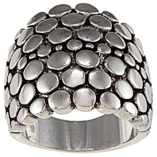 City Style Silvertone Pebble Dome Fashion Ring