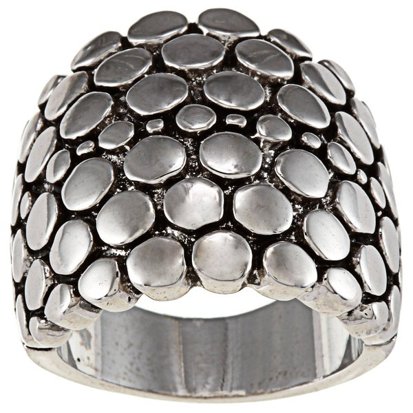 City by City City Style Silvertone Pebble Dome Fashion Ring