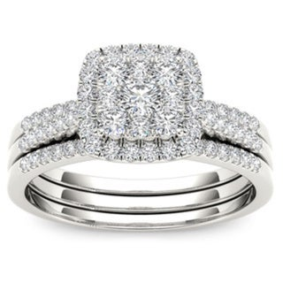 De Couer 10k White Gold 1/2 ct TDW Diamond Halo Engagement Ring Set (H-I, I2)