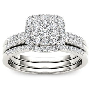 De Couer 10k White Gold 1/2ct TDW Diamond Bridal Ring Set (H-I, I2)