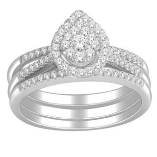 De Couer 10k White Gold 1/2ct TDW Diamond Bridal Set (H-I, I2) with Bonus Necklace