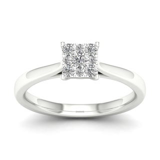 De Couer 10k White Gold 1/4ct TDW Cluster Diamond Ring (H-I, I2) with Bonus Necklace