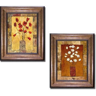 Judi Bagnato 'Red and White Flowers' Framed 2-piece Canvas Set