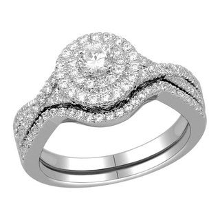 De Couer 10k Gold 3/4ct TDW Diamond Halo Bridal Ring Set (H-I, I2)