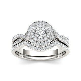 10K White Gold 3/4ct TDW Double Halo Diamond Bridal Set