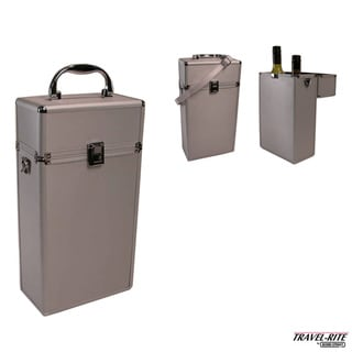 Travel-Rite by Bond Street Fine Felt Lined Double Bottle Travel Wine Carrier