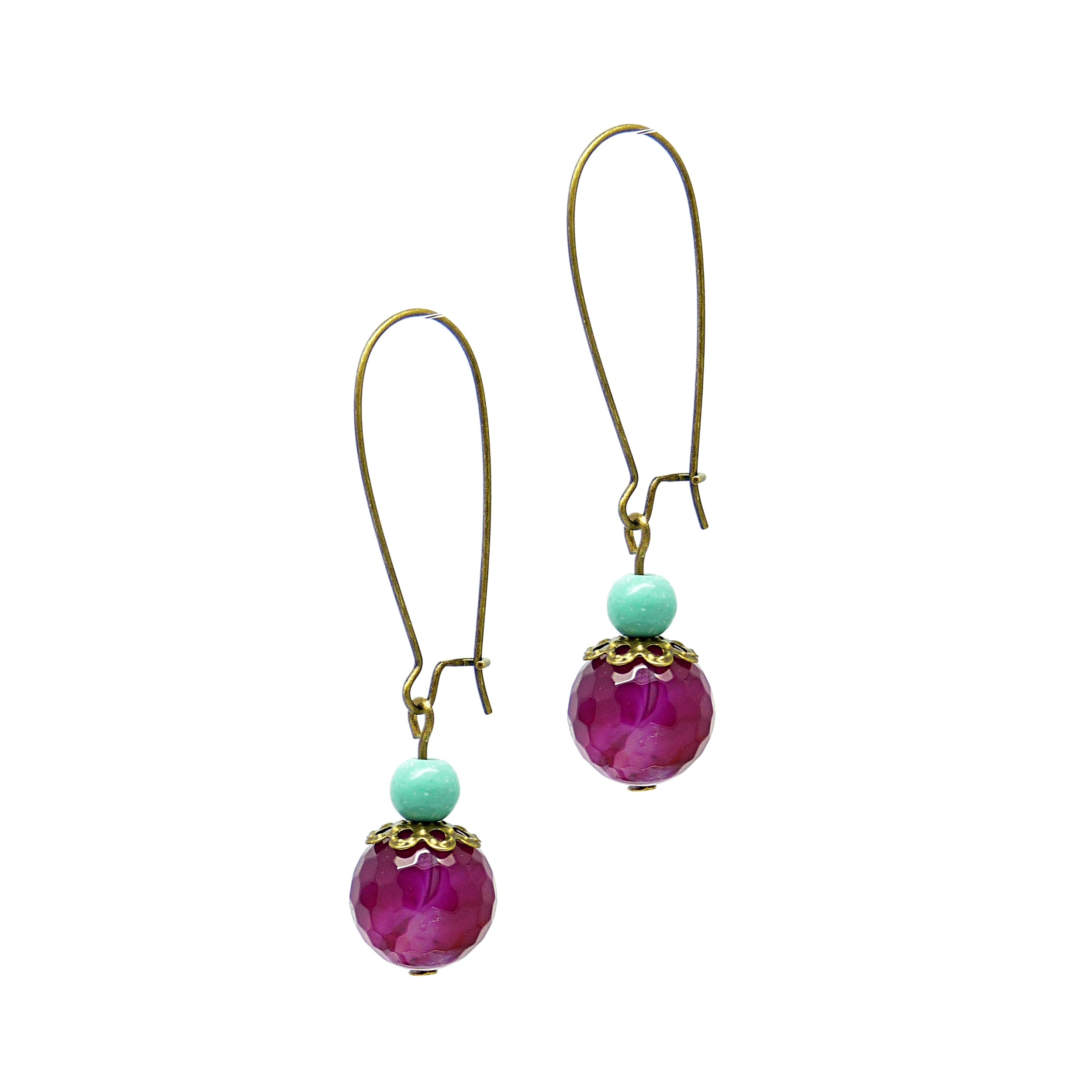 Pretty Little Style Bronzeplated Agate Turquoise Earrings