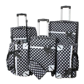 World Traveler Polka Dot Delight 6-piece Black and White Expandable Lightweight Spinner Luggage Set