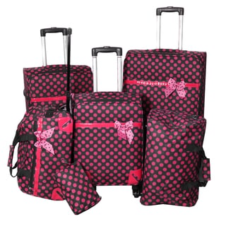 World Traveler Polka Dot Delight 6-piece Black and Pink Expandable Lightweight Spinner Luggage Set