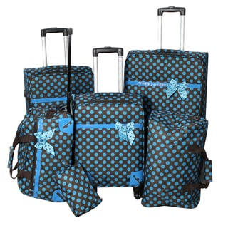 World Traveler Polka Dot Delight 6-piece Brown and Turquoise Expandable Lightweight Spinner Luggage Set