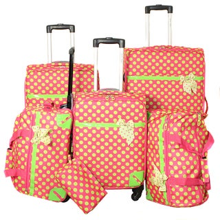 World Traveler Polka Dot Delight 6-piece Pink and Green Expandable Lightweight Spinner Luggage Set