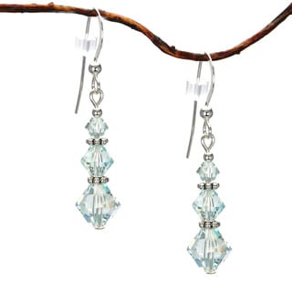 Jewelry by Dawn Pale Blue Crystal Triple Bicone Sterling Silver Earrings
