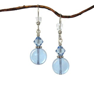 Small Blue Glass Coin Shaped Sterling Silver Earrings