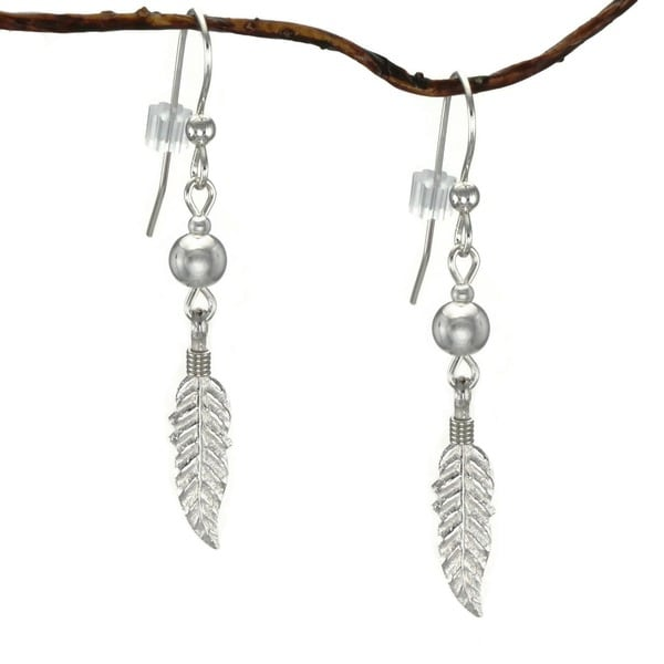 Jewelry by Dawn Sterling Silver Bead With Feather Sterling Silver Earrings 9855471